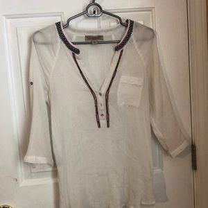 See-through boarded quarter sleeve blouse